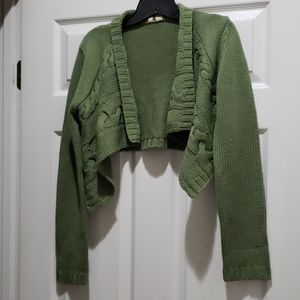 Anthropologie Moth Cropped Cable Knit Cardigan